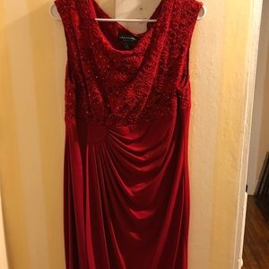 Red knee length cocktail dress 16